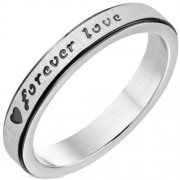 Fekete és ezüst színű nemesacél karikagyűrű Forever love felirattal-8
