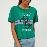 Guess Women's Short Sleeve Crew Neck Iris Logo T-Shirt - Ultra Emerald - XS - Green