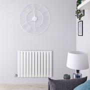 Hudson Reed Radiateur design électrique horizontal - Blanc - 63,5 cm x 84 cm x 4,6 cm - Delta