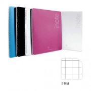 """Mitama Quadermo/Blocco Spiralato """"I-Note"""" Quadretti 5 Mm Formato Tablet Colori Assortiti"""