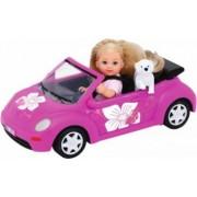 Papusa Simba Evi Love 12 cm Evi`s Beetle cu masina, catelus si accesorii