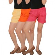 Culture the Dignity Women's Solid Rayon Shorts With Side Pockets Combo of 3 - Cream - Orange - Pink - C_RSHT_COP - Pack of 3 - Free Size