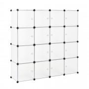 Гардероб с 16 отделения [neu.haus]® 144 x 144 cm Бял, с място за закачалки