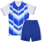 Детски футболен екип фланелка с шорти бяло и синьо