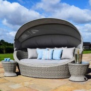 Maze Rattan Oxford Daybed with Side Tables