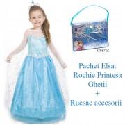 Pachet Elsa: Rochie Printesa Ghetii 5-6ani + Rucsac accesorii