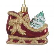 Geen Kerstboomhanger kerstman slee van 5 x 7 cm