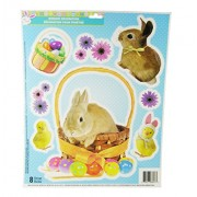 Easter Decorative Glitter Window Clings - Bunny Chicks Flowers & Easter Eggs Theme- 9 Clings