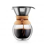 Bodum POUROVER Cafetière double paroi en verre, 8 tasses, 1.0 l, filtre permanent maille inox Liège