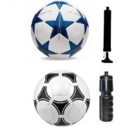 Kit of Bluestar UEFA Champions League Football + Tango Pasadena Black & White Football (Size-5) - Pack of 2 Balls with Air Pump & Sipper