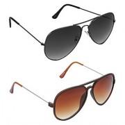 HRINKAR Men's Grey Mirrored Aviator Sunglasses