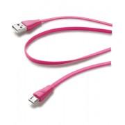 Cellular Line USB Data Cable Color - Micro USB Cavo dati colorato e in materiale antigroviglio Rosa