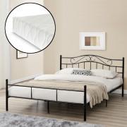 [en.casa]® Franciaágy Split hideghab matrac 180 x 200 cm fémkeretes vintage ágykeret design ágy fekete