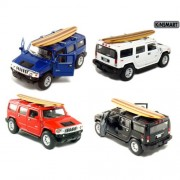 """Set Of 4: 5"""" 2008 Hummer H2 Suv With Surfboard 1:40 Scale (Black/Blue/Red/White) By Kinsmart"""