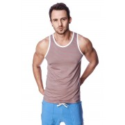 4-rth Light Weight Transition Striped Yoga Tank Top T Shirt Red/Grey/White