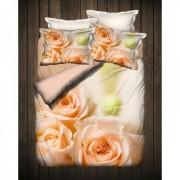 "Спално бельо с 3D мотив ""Beige Rose"" Ранфорс - 100% Памук"