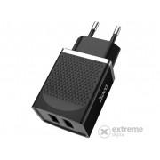 Încărcător rețea Hoco C43A 2 x USB, negru (5V / 2,2A, 12W, Încărcare rapidă, fără cablu)
