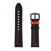 Stitching Decor Genuine Leather Wrist Band Strap Replacement for Samsung Watch S4 Gear Sport - Black