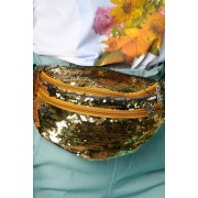 Geanta dama SunShine aurie cu aplicatii cu paiete accesorizata cu fermoar cu maner lung reglabil
