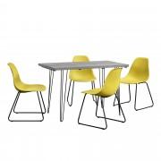 [en.casa]® Blagovaonski stol-efekat betona + design stolice - set od 4 komada - senf žute - 83x46x52cm