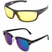 Barbarik Wrap-around, Clubmaster Sunglasses(Multicolor, Yellow)