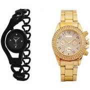 Paidu Gold and Black Chain Analog Watches for Men and Women
