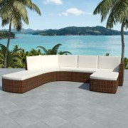 Set mobilier de grădină, 16 piese, poliratan, maro