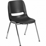 Flash Furniture Plastic Student Stack Chair - Black w/ Chrome Frame, 19.5Inch W x 23Inch D x 32Inch H, Model RUT18BKCHR