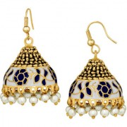 Spargz Festival Special Enamel Blue Meenakari Worked Gold Plated Pearl Fish Hook Jhumki Earring For Women