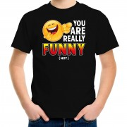 Bellatio Decorations Funny emoticon t-shirt you are really funny not zwart voor kids XS (110-116) - Feestshirts