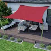 Jarolift Voile d'ombrage carrée, imperméable, rouge, 500x500 cm