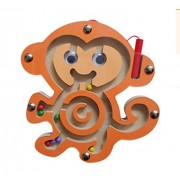 HappyToy Animal Mini Wooden Round Magnetic Wand Number Maze Interactive Magnet Beads on Board Game City Traffic Eduactional Handcraft Toys (Monkey)