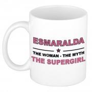 Bellatio Decorations Esmaralda The woman, The myth the supergirl cadeau koffie mok / thee beker 300 ml - Naam mokken