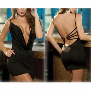 Sexy Pijamas Deep V cuello Backless Body sexy ropa interior - Negro