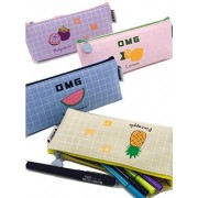 HOMIES INTERNATIONAL Brings Imported Stylish Multi-Purpose FABRIC Pen, Pencil, Stationery Zipper Pouch, Bag, Case organizer for School Kids and Office. 1 Piece. Dimension: 21 (L) * 8 (B) * 5 (H) cms, Color: Multi-Color, will be sent as per the availabilit