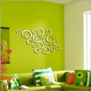 Sticker acrilic 3D Circle Mirror 75x48 cm Silver