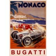 MONACO BUGATTI FASTEST ITALIAN CAR RACING GRAND PRIX RACE LARGE VINTAGE POSTER REPRO ON CANVAS
