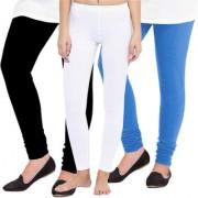 Woolen Leggings for Women Winter Bottom Wear Combo Pack of 3 (Black White and Sky Blue) - Free Size