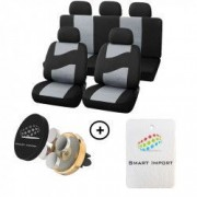 Huse auto Peugeot 307 Rider Poliester 11 piese Negru/Gri + Cadou suport magnetic telefon SI-005 + Cadou Odorizant Masina