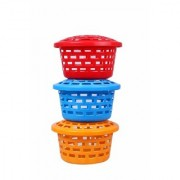 Nucleya Retail Storage Baskets // Multipurpose Plastic Container Set 3 Round Baskets Set with Lid // Multi Colour