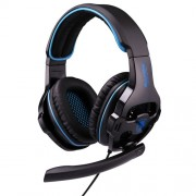 SADES SA-810 3.5mm Gaming Headset Wired Headphone with Wire Control + Mic for PC Laptop (Black+Blue)