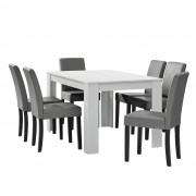 PremiumXL - [en.casa] Elegantan blagovaonski set - stol(bijela) + 6 stolica (svijetlo siva)
