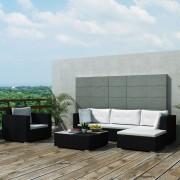 Set mobilier de grădină 17 piese, poliratan, negru