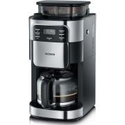 Cafetiera Filtru pentru Cafea Boabe cu Rasnita Macinare Incorporata Severin, Putere 1000W, Capacitate 1.25L, Negru/Argintiu
