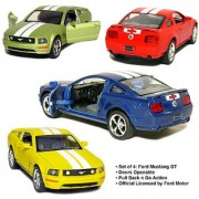 Set of 4: 5 2006 Ford Mustang GT with Stripes 1:38 Scale (Blue/Green/Red/Yellow) by Kinsmart