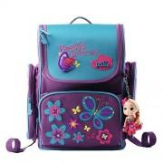 Moonwind Cute 3D Princess Waterproof Kids Children Primary School Book Backpack Shoulders Bag Girls (Purple/Butterfly)