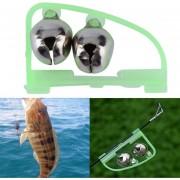 EW Pesca Accesorios De Rod Sugerencia Fish Bite Doble Alarma Alerta Clip Herramienta Bells Verde.