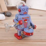 Vintage De Estaño Metálico Ronroneo Clockwork Robot Wind Up Tin Toy Co