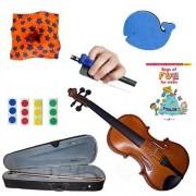 Childrens Violin Beginner Violin Pack 1/8 (4-6yr Old)- with Beginner Violin Book, Finger Markers, Star Rosin, Whale Shoulder Rest, Blue Hold Fish