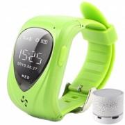 Ceas Smartwatch GPS Copii iUni U11 Telefon incoporat Alarma SOS Green + Boxa Cadou Bonus Bratara Roca Vulcanica unisex